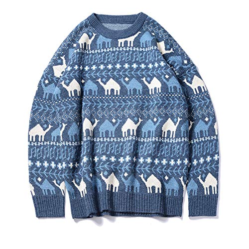 qishi Lose Rundhals Verdickte Cartoon Herren Strickpullover Winter Casual Sweater Gr. L, blau