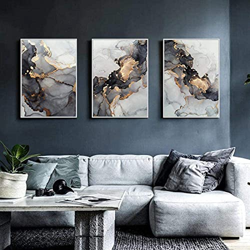 LIANGX Abstrakte Grey Golden Fluid Art Malerei Leinwand Wandkunst Bilder,HD ohne Rahmen Nordic Marmor Textur Print Gemälde Home Office Room Decor 3 Panels (3 Stück 50x70cm)