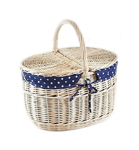 MyBer® Korb Picknickkorb Tragekorb Einkaufskorb mit 2 Deckeln Weidenkorb Vollweide geflochten weiß K12-027-W-SBW