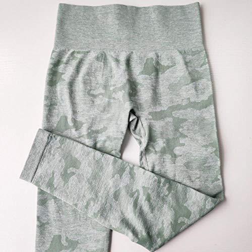 HPPLWomen 2e editie Camo naadloze legging Hoge taille Booty legging Scrunch legging Yoga broek Compressiebroek dames, groen, L