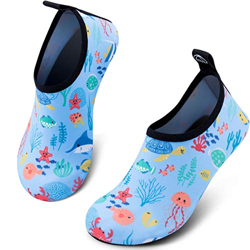 SIMARI Kids Water Shoes Girls Boys Toddler Quick Dry Anti Slip Aqua Socks for Beach Outdoor Sports 308 Fish Blue 1.5-2.5