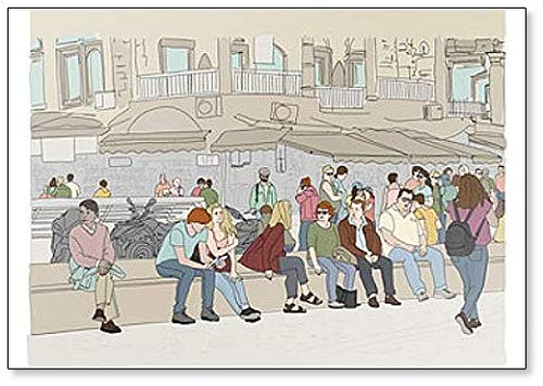 menigte van mensen in de drukke marktplaats van Monastiraki plein in Griekenland klassieke koelkast magneet