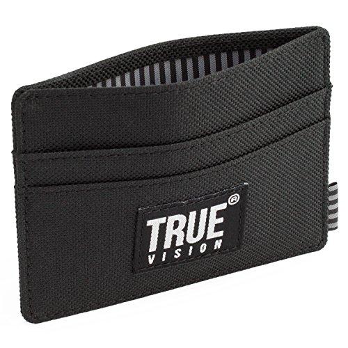 Cartera tarjetera TRUE VISION Ultra Delgada con Bloqueo de señales RFID para Hombre - En Elegante Tela Negro Ultra Delgada con Protector de Tarjetas de crédito y Compartimentos revestidos para Notas