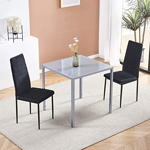 HomeSailing 3 Piece Grey Glass Dining Table and Black Velvet Chairs Set of 2, Modern Small Kitchen Square Table and 2 Black Chairs Space-Saving (2 Chairs Black Velvet Chairs with Grey Square Table)