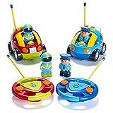 Pack de 2 cartoons R/C voiture de police et jouets télécommandes course de voiture pour enfants – chacun avec des fréquences différentes pour que les deux puissant faire la course ensemble