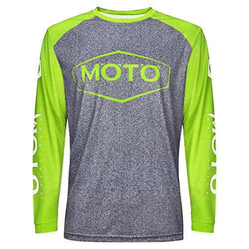 Wisdom Leaves Men's Mountain Bike Jersey Long Sleeve Downhill&Motocross Shirts Breathable/Moisture-Wicking T-Shirt Yellow-Grey