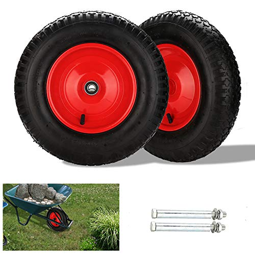 Hengda 2X Schubkarrenrad luftbereift 4.80/4.00-8 Ø 390mm Schubkarrenreifen 200 kg 95mm Breite inkl. Achse Ersatzrad Reifen für Schubkarre