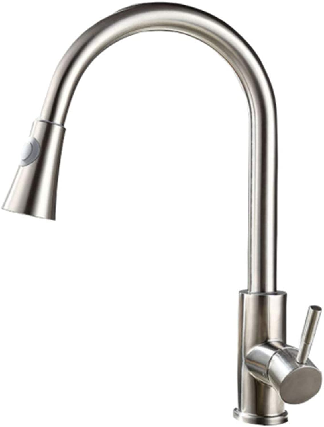 Kitchen Taps Faucetmodern Kitchen Sink Tapsstainless Steelpull Stainless Steel Kitchen Faucet Hot and Cold Kitchen Faucet Telescopic Wash Basin Sink