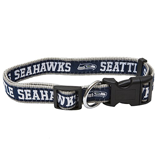 Pets First NFL Seattle Seahawks STRONG & ADJUSTABLE DOG Collar, Large