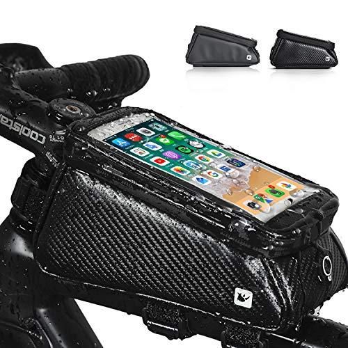 Asvert Bolsas de Bicicleta, Bolsa Manillar Impermeable para Bicicleta, Bolsa Táctil de Tubo Superior Delantero con Orificio para Auriculares para Teléfono Inteligente por Debajo (Negro Brillante)