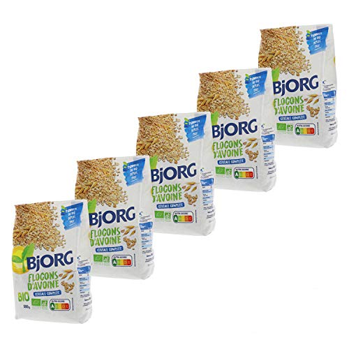 Bjorg Flocons d'Avoine complète Bio - Riche en fibres et magnésium - Lot de 5 paquets de 500 g