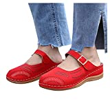 Aniywn Womens Closed Toe Sandals Comfortable Breathable Summer Wedge Shoes Non-Slip Hollow Out Beach Wedge Sandal Red