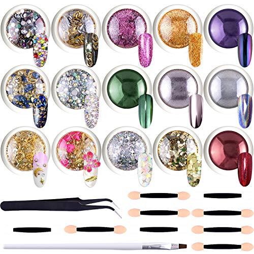 Duufin 15 Döschen Nagelpuder Chrom Pigmente Strasssteine Nägel Kristalle, mit Lidschattenpinsel, Pinzette für Nägel Kunst Dekoration