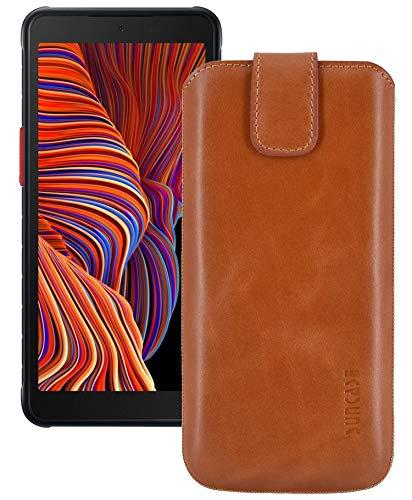 Suncase ECHT Ledertasche Leder Etui *Slim-Edition* kompatibel mit Samsung Galaxy Xcover 5 Hülle (mit Rückzugsfunktion & Magnetverschluss) Cognac