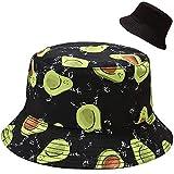 Malaxlx Avocado Stampa Cappello da Pescatore Donna Uomo Cappello da Sole Reversibile Pieghevole Cappello da Pesca Cotone Viaggio Spiaggia Esterno Cappellino