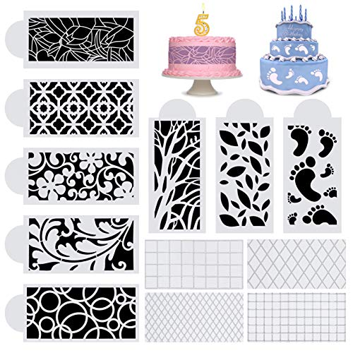 Cake Decorating Stencils 12Pcs, Floral Cake Decorating Templates Flower Edge Molding Baking Tool for Cupcake ,Cookie and Mousse