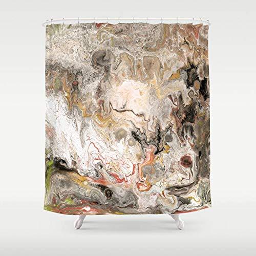 N/ A Marmor Duschvorhang Schichten Strata Granit Geology Farbe gießen moderne Marmor Unisex einzigartige Heimdekoration Badezimmer