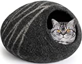 MEOWFIA Premium Felt Cat Cave Bed (Large) - Eco-Friendly 100% Merino Wool Cat Bed - Handmade - Soft and Comfy Beds for Large Cats and Kittens(Large, Dark Grey)