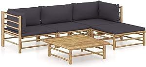 vidaXL Garden Lounge Set 5 Piece with Dark Gray Cushions Outdoor Patio Balcony Backyard Terrace Seating Sofa Seat Home Furniture Bamboo