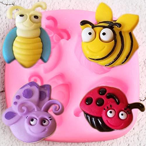 YUIOP Insekten Silikon Formen 3D Biene Schmetterling Marienkäfer Cupcake Topper Fondant Süßigkeiten Schokoladenform DIY Baby Party Kuchen Dekorationswerkzeuge