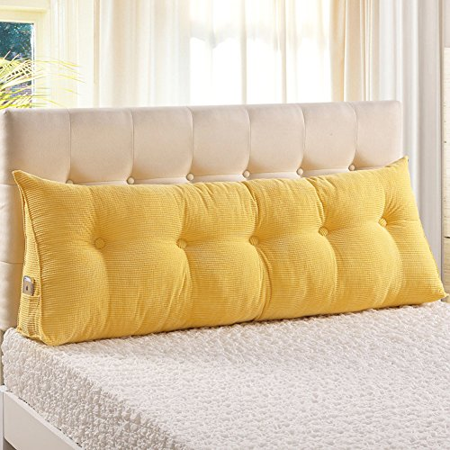 General Vercart Sofa Bed Large Upholstered Headboard Filled Triangular Wedge Cushion Bed Backrest Positioning Support Pillow Reading Pillow Office Lumbar Pad with Removable Cover Yellow 71 Inches