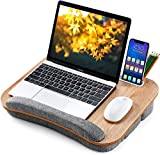 Lap Desk Height Adjustable - Fits up to 15.6 inch Laptop, Ohuhu Portable Wood Lap Laptop Desk with Soft Pillow Cushion, Anti-Slip Strip & Storage Pockets for Notebook, MacBook, Tablet Laptop Stand