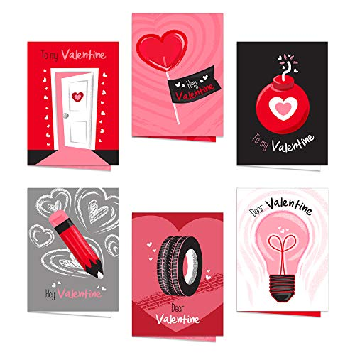 """Illustrated Valentine's Day Card Assortment / 5"""" x 7"""" Funny Cards With White Envelopes / 12 Non-Romantic Valentine Friendship Cards"""