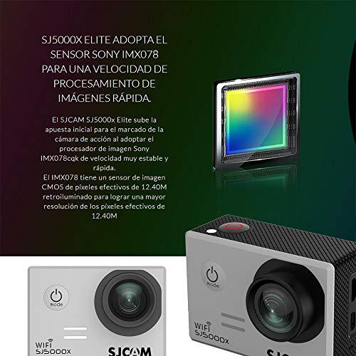 SJCAM SJ5000X Elite (versión española) - Videocámara deportiva (WiFi integrado, 4K, pantalla de 2'' LCD, WiFi, sumergible 30 m) color plateado