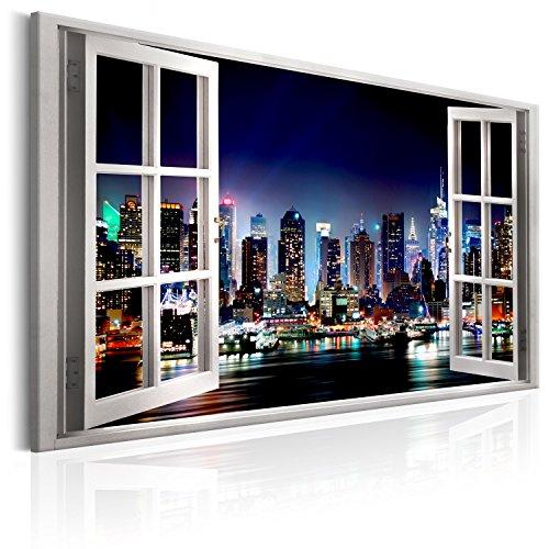murando Quadro Finestra 120x80 cm XXL Immagini moderni Murale Fotografia Grafica Decorazione da parete 1 pezzo Finestra New York Citta Notte a d-C-0068-b-a