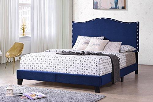 kings king bed frames Kings Brand Furniture Clarno Blue Velvet Nailhead Queen Size Upholstered Bed