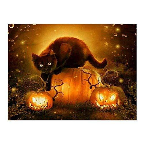 Pintura de Diamante 5D de Bricolaje Gato de Halloween Lienzo preimpreso Decoración de Pared de Lona 30x 40cm