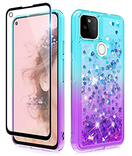 Dzxouui for Google Pixel 5A Case with Glass Screen Protector,Google 5A Case,Girls Women TPU Clear Cover Moving Quicksand Glitter Cute Phone Cases for Google Pixel 5A 5G(Teal/Purple)