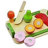 Mias Spielzeug Schneidebrett-Set mit 5 schneidbaren Früchten und Gemüse aus Holz - Schneideobst, Holzobst, Küchenspielzeug, Spielzeug Küche