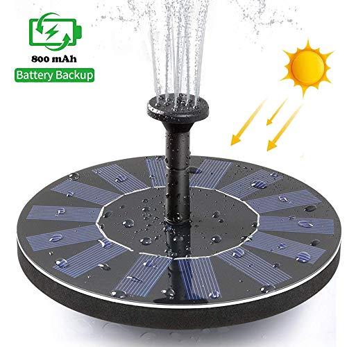 Colisal Solar Springbrunnen Solarpumpe with 800mAh Battery Backup Solar Teichpumpe mit Solar Panel Wasserpumpe Solarpumpe mit 6 Fontänenstile für Garten, Vogel-Bad, Teich, Fisch-Behälter, Pool