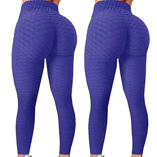 Dosoop 2Pcs Women's High Waist Yoga Pants,Bubble Hip Lifting Exercise Fitness Running Workout Tights Trousers