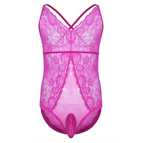 iixpin Herren Body Bodydoll Spitze Nachthemd Harness Bikini Pink Schwarz Sissy Reizwäsche Unterwäsche Rosa(Typ A) M