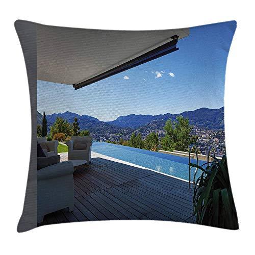 Patio Decor kussensloop, modern zomerhuis met berglandschap en zwembad, decoratieve vierkante accent kussensloop, 18 X 18 inch, wit licht bruin en hemelsblauw