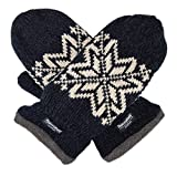 Bruceriver Mens Snowflake Knit Mittens with Warm Thinsulate Fleece Lining Size L/XL (Black)