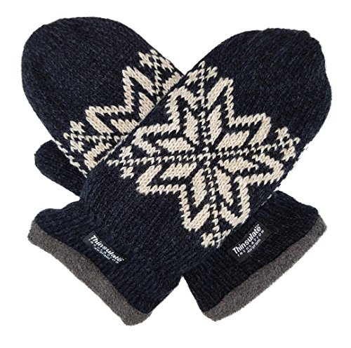 Bruceriver Mens Snowflake Knit Mittens with Warm Thinsulate Fleece Lining (ONE SIZE, Black)