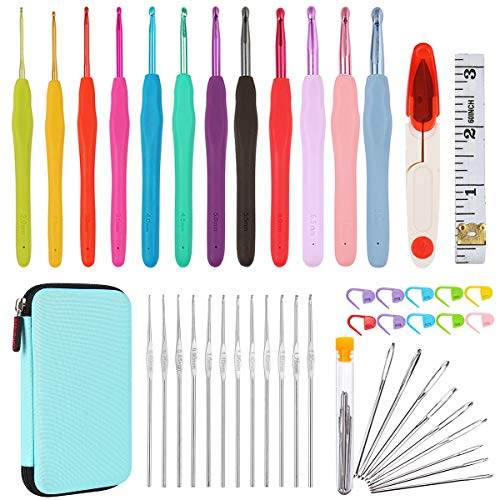 All-in-One Crochet Hooks Set Plus Large-Eye Blunt Needles Yarn Knitting with Case and More Accessories! Ergonomic Handle for Extreme Comfort. Ultimate Choice