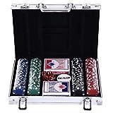 Malette Pro Poker Coffret Complet 30L x 21l x 6,5H cm 200 jetons 2 Jeux de Cartes + 2 clés Aluminium