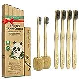 Cepillo Dientes Bambu Paquete de 6 + 2 Portacepillos de Dientes, Cepillos de Dientes de Bambú con cerdas de carbón de bambú para Una Mejor...