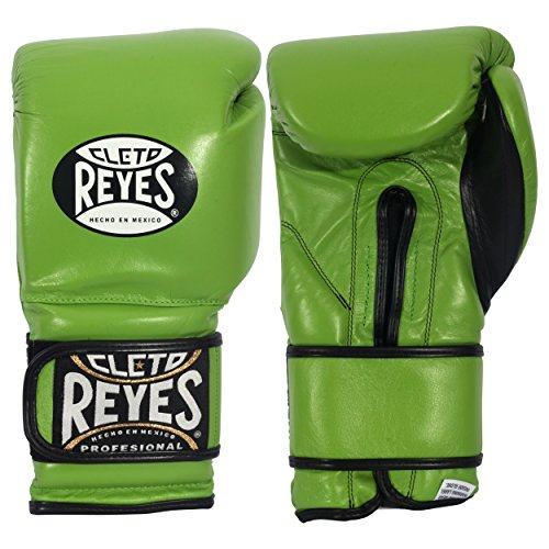 Cleto Reyes Hook and Loop Boxing Training Gloves, Green , 12 OZ