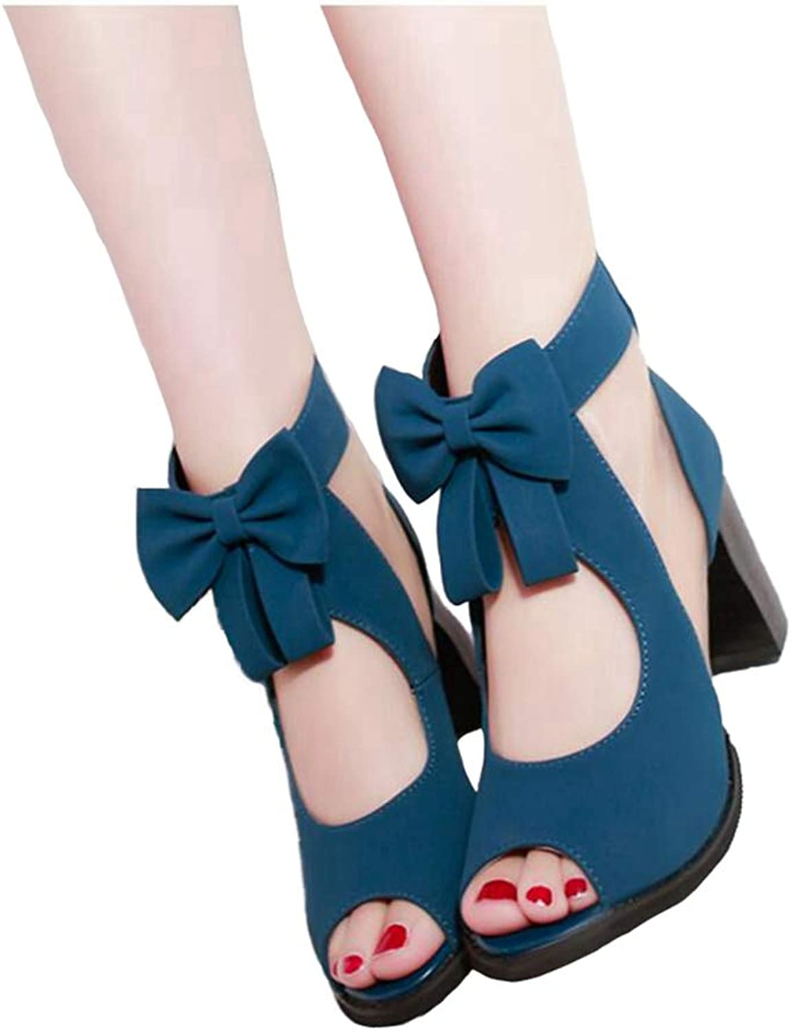Ladies bluee Sandal Bow Knot Zipper High Heel Sandals Spring Summer Fashion Knitted Women shoes
