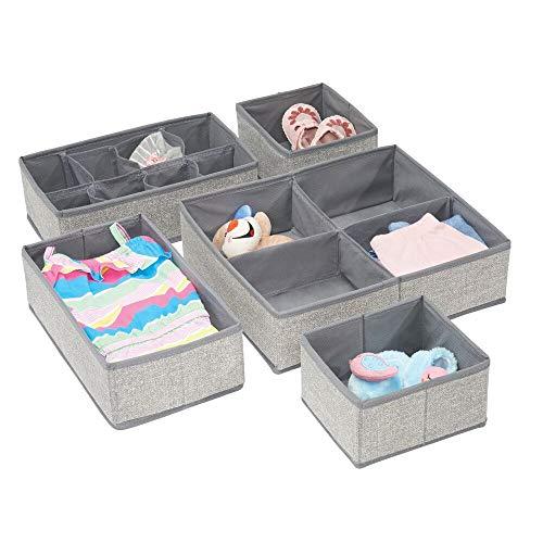 mDesign 5er-Set Kinderzimmer Aufbewahrungsbox – Aufbewahrungsboxen für Babysachen und Windeln – auch zur Spielzeugaufbewahrung geeignet – Kiste mit mehreren Fächern – grau