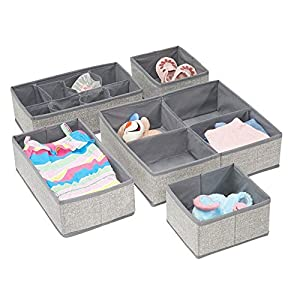 mDesign Soft Fabric Dresser Drawer and Closet Storage Organizer Set for Child/Baby Room or Nursery – Large Set of 5 Organizers, Textured Print – Gray