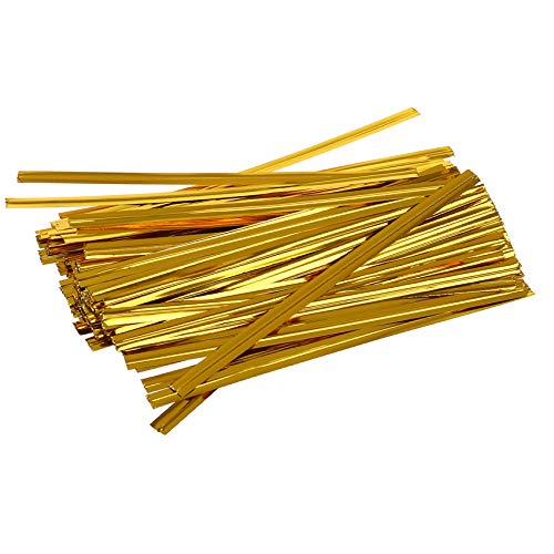 1000 Pack of Glossy Gold Twist Ties. 4 Inches Bag Ties by Amiff. Foil Twist Ties for cellophane Bags and Party Bags. Foil Coated Ties. Bendable Multi-Function Strong Wire Ties for Tying Gift