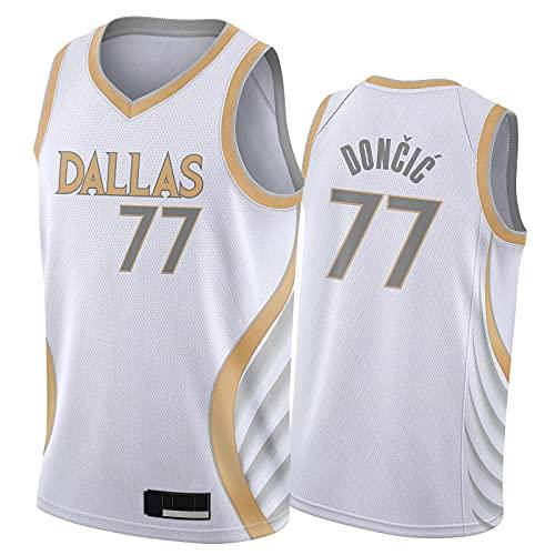 YLFJ Dallas Mavericks Luka Dončić Basketball Trikot 77# Herren,Atmungsaktiv Mesh Gestickte Fan Sporttraining Jersey Ärmellose Top,S-2XL 2021 New City-XXL