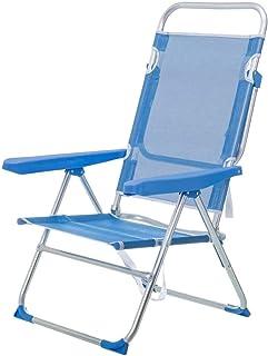 LOLAhome Tumbona Cama de Playa 4 Posiciones de Aluminio y textileno (Azul)