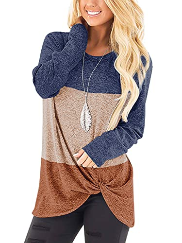 Long Sleeve T Shirt Women Tunics Tops Leggigns Fall Leisure Sweaters Blue/Beige/Coffee, L